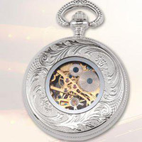 Wholesale fashion watch New Vintage Silver Mechanical Mens Antique Pocket Watch