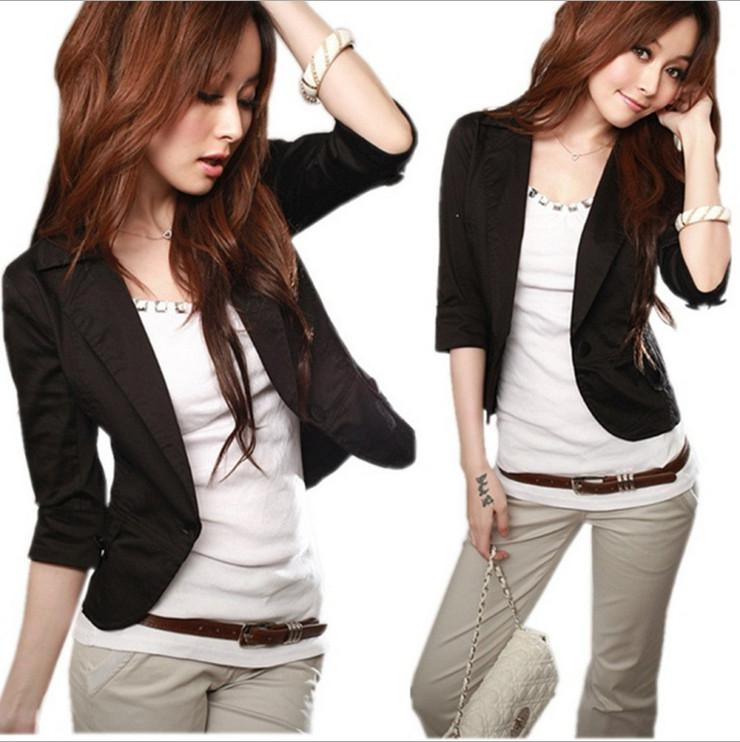 Women'S Korean High Street Cotton Jacket Casual Blazer Female ...