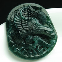 Wholesale Natural graphite emerald jade eagle pendant A cargo Burma jade pendant genuine jade pendant to send the certificate to spread its wings