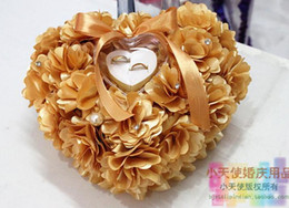 Wholesale Heart shaped ring pillow european style ring pillow bridal wedding ring box for wedding flowers gold