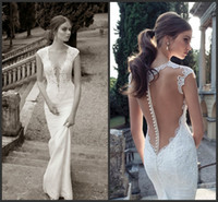 Wholesale 2014 Most Gorgeous Sheer Illusion Back Pearl Bead Transparent Sexy Weddingl Dresses Lace Applique Deep V Neck Cap Sleeve Wedding Gowns