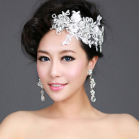 Wholesale Dancing bride hair accessory handmade lace flower hair accessory married short hair accessories wedding dress
