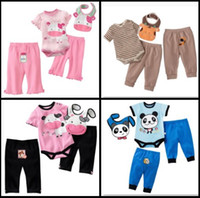 bib sets - Cheapest Baby Pieces Sets Milk Baby Rompers Bibs Set Cotton Bodysuit Pants Sets Outfits Top Quality W217