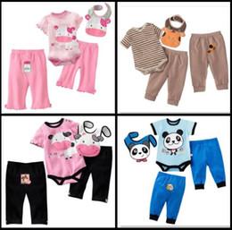 Wholesale Cheapest Baby Pieces Sets Milk Baby Rompers Bibs Set Cotton Bodysuit Pants Sets Outfits Top Quality W217
