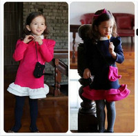 TuTu Spring / Autumn Full Dress 2014 Spring and Fall Baby Fruit Colors Dresses With Flowers Sides Girls' Korean Style Dresses With Bags