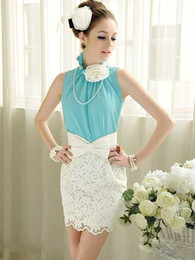 Wholesale shirt Summer Women OL White Tulips Embroidered Lace Bow High Waist Skirt Ladies Flower Slim Cute Mini Skirts