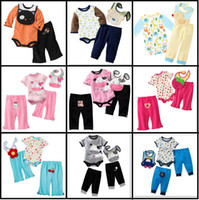 Wholesale Baby Rompers Bibs Set Lowest Price Children s Pieces Sets Bodysuit Pants Baby Clothing Sets W220