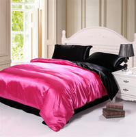 Wholesale Rose red and Black imitated silk comforter bedding sets queen king size duvet quilt cover bed sheet bedclothes set Home Textile