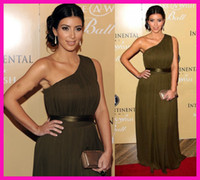 Reference Images One-Shoulder Chiffon Kim Kardashian Elegant One Shoulder Long Chiffon Formal Evening Dresses Celebrity Plus Size E4114