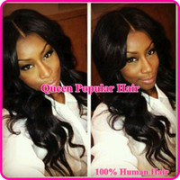 Wholesale Hot price quot b body wave brazilian virgin human hair middle part Lace Front wig full lace wigs