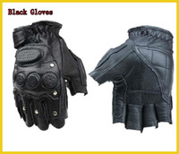 Wholesale Tactical Military Fitness Leather Sheepskin Rivet Half Finger Fingerless Gloves