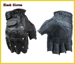 Wholesale Tactical Military Fitness Leather Sheepskin Rivet Half Finger Fingerless Gloves