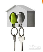 Wholesale DUO Sparrow Key Ring with Birdhouse Keychain Two Birds For Home Decoration Wedding valentines gift