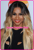 black body wave Brazilian hair Beautiful ombre two tone color 1B 613 wigs Peruvian human Hair Full lace wig&Front Lace wigs with baby hair hot sale