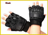 Wholesale Tactical Half finger Fingerless Airsoft Paintball Combat Gloves Black