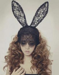 Wholesale Lace Rabbit Ears Headband - Lace rabbit bunny ears Lady gaga veil hair bands headbands for bridal wedding black mask Christmas halloween party free shipping
