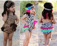 baby shortalls - 2014 Hot Sale Zebra Baby Girls Bodysuits Leopard Baby One Pieces Romper Rainbow Newborn Posh Petti Jumpsuit Shortalls P524