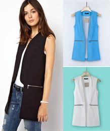 Wholesale coats Women s Casual Slim Vest With Pocket Lady Fashion Zipper Waistcoat Sleeveless Outwear Elegant Cardigan