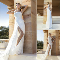 A-Line Reference Images One-Shoulder 2014 Wedding Dresses demetrios DR209 high slit wedding dress pleats one shoulder flower chiffon Bridal Dress Beach wedding gown Bridal Gowns