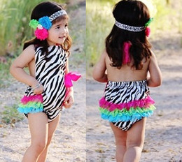 Rainbow Zebra Baby Lace Rompers Girls Bodysuits NB Overalls Sleeveless Layers Baby One-Pieces Romper Shortalls P527