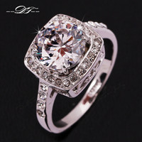 Unisex trinkets - 2014 New Exaggerated Big CZ Diamond Wedding Ring K Platinum Plated Trinket Crystal Jewelry For Women Gift DFR071