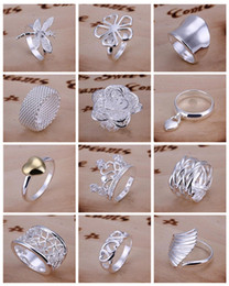Mix Styles Hot Sale New 925 Silver Fashion Jewelry 30pcs Mixed Order Multi Styles Finger Rings Mix size