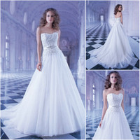 A-Line Reference Images Strapless Demetrios GR244 Strapless Tulle A line wedding dress beaded lace bodice crystal belt buttons over zipper Chapel train Bridal Dress 2014 new