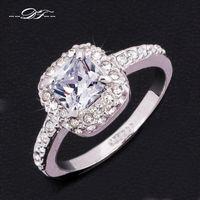 Stunning Crystal Inlaid Wedding Ring 18K Platinum Plated CZ ...