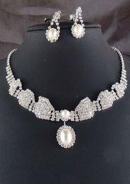 Wholesale Artificial bridal jewelry sets bridal jewellery pearl wedding jewelry set diamond wedding jewellery crystal crown necklace earrings