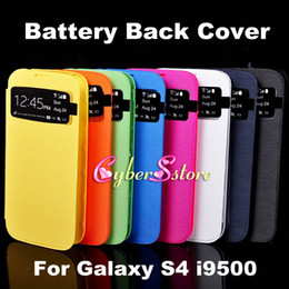 Wholesale For Galaxy S4 Flip Smart Leather Battery Back Case Cover Open Window For Samsung i9500 Automatic Sleep Awake Up Function