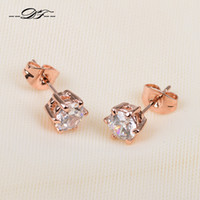 Wholesale DFE036 Simple Elegant ct CZ Diamond K Gold Plated Stud Earring Fashion Wedding Jewelry Crystal For Women Gift