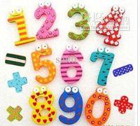 Wholesale Children s Education DIY Toy digital colour wooden fridge figures magnets Memo Sticker