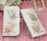 Wholesale Rhinestone Cell Phone Cases flower bow pearl mobile phone spare parts Pu Leather Phone cases for iphone G G