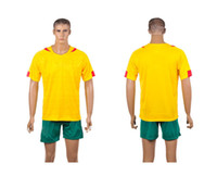 Soccer Men Short Cameroon national team Away jersey 2014 World Cup kit yellow football jersey Mix order