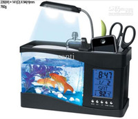 Wholesale Mini USB LCD Desktop Aquarium Lamp Light Fish Tank LED Clock black white
