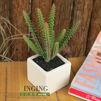Wholesale Ceramic exquisite artificial plants diaphragn small desktop bonsai decoration cactus