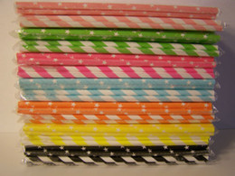 Wholesale packs mixed Vintage Stripe Paper Straws Drinking Wedding Party Decoration