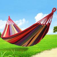 Nylon   Family Camping Outdoor Double camping hammock swing outdoor upset canvas hammock indoor recreational crane qwased
