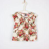 Girl Summer Standard 2014 Baby girls cotton rosette floral t-shirts kids girl summer fashion lace jumper tops in beige navy red children's blouse