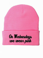 Wholesale on wednesdays we wear pink Beanies on wednesdays Beanie on wednesdays Hats Fashion caps custom any brand Beanie by factory seller