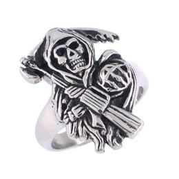Wholesale Grim Reaper Skull Biker Ring Stainless Steel Jewelry Skull Motor Biker Men Ring SWR0000
