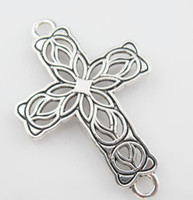 Wholesale NewTibetan Silver Cross Flower Charms Pendants Connectors DIY x42mm