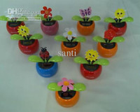Wholesale Solar Powered Flip Flap Flower Plant Cool Car decorating Dancing flowers doll doll car accessories