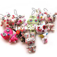 Wholesale Korean Handmade doll for cellphone bag cute plush stuffed doll button doll