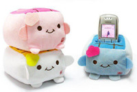 Wholesale Kawaii Plush Stuffed Toy Japan TOFU DOLL Cell Mobile Phone Stand Holder Pouch Case CAR Phone Stand Holder Doll Rack