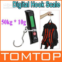 Digital scale 10kg-100kg LCD Wholesale - 50kg * 10g LCD Display Digital Portable Travel Luggage Fishing Weight Hook Hanging Scale , Free ship