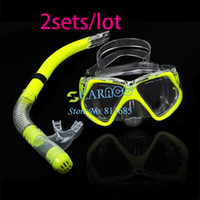 Wholesale 2SETS Fluorescence Yellow Toughened Glass Scuba Diving Mask Snorkel Set Goggles Swimming Goggles Diving Equipment TK0868