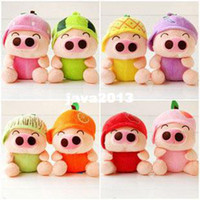 Wholesale Colors Super cute couple Pigs Plush Toy Fruit Doll Small Doll Married Birthday Gift Small Gift Pieces