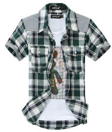 Wholesale men clothes Supply Korean version of the Slim stitching men s plaid short sleeved shirt