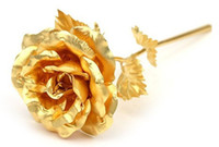 Wholesale Lover s gift girls womens gift Gold Rose with gift box Dipped in K Gold bloom cm